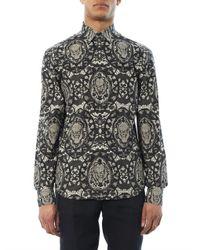 Alexander McQueen Black Lace Skullprint Shirt for men