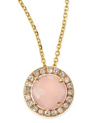 KALAN by Suzanne Kalan | Pink 6mm Rose Quartz & White Sapphire Pendant Necklace | Lyst