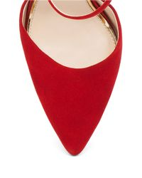 Jessica Simpson Red Carlette Suede Ankle Strap Pumps