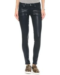 PAIGE Blue Edgemont Coated Skinny Jeans - Azure Silk