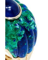 David Webb Blue Cabachon Sapphire, Fluted Azurmalachite, And 18K Gold Ring
