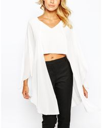 Love | Natural V Neck Top With Longline Fluted Sleeve | Lyst
