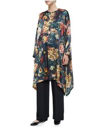 Eskandar - Multicolor Floral-print Silk Long Poncho - Lyst