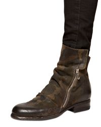 Strategia Green 20Mm Camouflage Printed Leather Boots