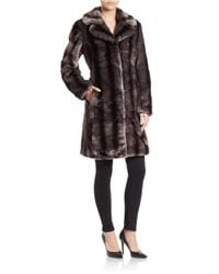 Jones New York | Gray Textural Faux-fur Coat | Lyst