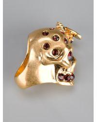 Alexander McQueen Metallic Skull And Bee Ring