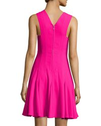 Rebecca Taylor - Pink Sleeveless Crepe A-line Dress - Lyst