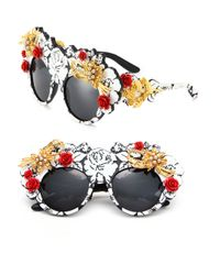 Dolce & Gabbana - Multicolor Mama's Brocade 52mm Embellished Round Sunglasses - Lyst