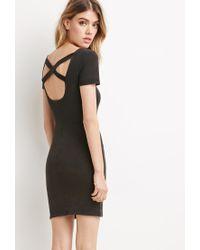 Forever 21 | Black Crisscross-back Bodycon Dress | Lyst