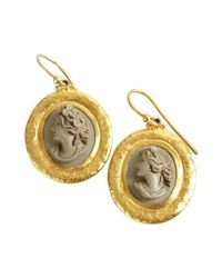 Gurhan | Metallic Gold And Stone 'pompeii' Lava Cameos Drop Earrings | Lyst