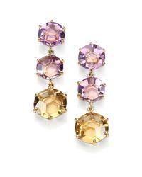 Ippolita | Pink Amethyst Ametrine Orange Citrine 18k Yellow Gold Cascade Drop Earrings | Lyst