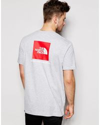 The North Face Gray T-shirt With Red Box Logo for men