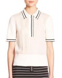 Rag & Bone - Natural Dana Striped Silk Polo Shirt - Lyst