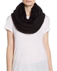 Modena Black Faux Fur-lined Knit Infinity Scarf