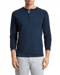 Jaeger - Blue Cotton Marl Henley Shirt for Men - Lyst