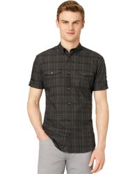 Calvin Klein | Black Slim Fit Multi Check Dobby Sportshirt for Men | Lyst
