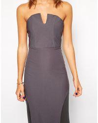 Jarlo - Gray Sheer Insert Strapless Maxi Dress - Gunmetal - Lyst