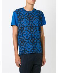 Z Zegna Blue Geometric Print T-shirt for men