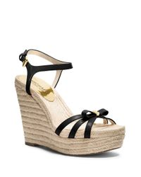 MICHAEL Michael Kors | Black Josie Patent Leather Wedges | Lyst