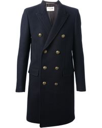 Saint Laurent | Blue Double Breasted Coat for Men | Lyst