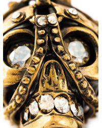 Alexander McQueen Metallic Harness Skull Pendant Necklace