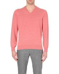Brunello Cucinelli | Red V-neck Cashmere Jumper for Men | Lyst