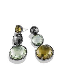 David Yurman - Green Chatelaine Triple Drop Earrings With Olive Quartz, Prasiolite And Hematine - Lyst