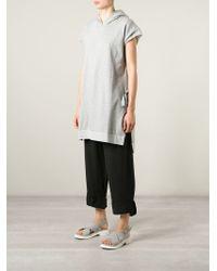 MM6 by Maison Martin Margiela - Gray Hooded Oversized Sweater - Lyst