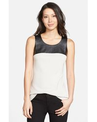 NIC+ZOE Metallic 'chalet' Faux Leather Yoke Tank