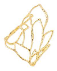 Alexis Bittar | Metallic Golden Crystal Embellished Rocky Leaf Cuff | Lyst