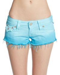 True Religion | Blue Cutoff Ombrã Jean Shorts | Lyst