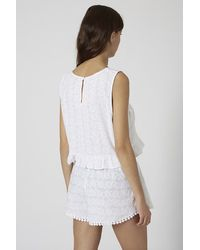 TOPSHOP White Palm Embroidered Frill Crop Top