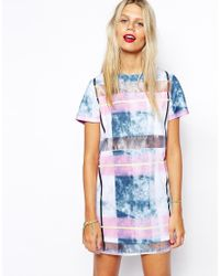 ASOS - Blue T-Shirt Dress With Marble Check Panel - Lyst