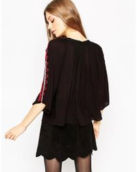 ASOS | Multicolor Wide Sleeve Embroidered Folk Blouse | Lyst