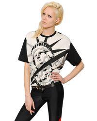 Fausto Puglisi Black Statue Of Liberty Printed Cotton T-Shirt
