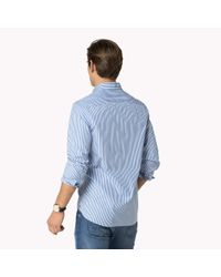 Tommy Hilfiger - Blue Cotton Striped Fitted Shirt for Men - Lyst