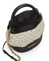 Burberry Black Small Two-tone Laser-cut Leather Bucket Bag