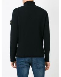 Stone Island - Black Turtle Neck Sweater for Men - Lyst