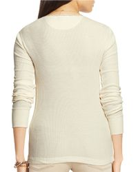 Lauren by Ralph Lauren | Natural Cotton Waffle-knit Henley | Lyst
