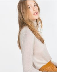 Zara | Natural Polo Neck Sweater | Lyst