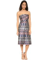 Tory Burch - Blue Strapless Jacquard Dress - Lyst