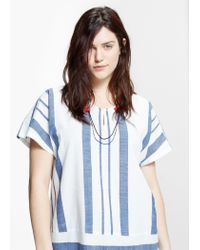 Violeta by Mango - Blue Striped Cotton Blouse - Lyst