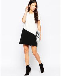 Mango | Black Minimal Bicolour Dress | Lyst