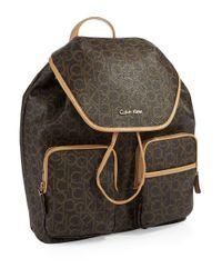 Calvin Klein Brown Logo Patterned Backpack for men