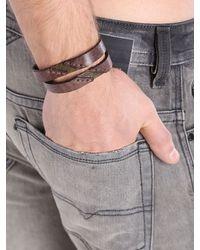 DIESEL - Brown Agefty Leather Bracelet  for Men - Lyst