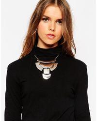 ASOS - Metallic Mixed Shape Geo Bib Necklace - Lyst