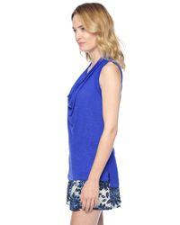 Splendid | Blue Slub Jersey Drape Neck Tank | Lyst