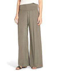 NIC+ZOE - Green 'Feel Good' Foldover Waist Textured Knit Pants - Lyst