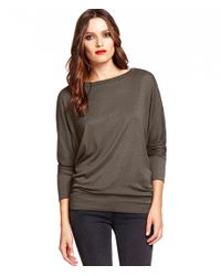 Michael Stars | Brown Wide Neck Dolman Top | Lyst