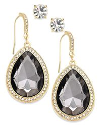 INC International Concepts | Metallic Gold-tone Black Diamond Stone And Pave Edge Teardrop And Round Clear Crystal Stud Earring Set | Lyst